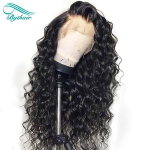 Bythair Human Hair Lace Front Wig Water Wave Curl Pre-plucked Hairline Deep Curly Full Lace Wig Brazilian Virgin Hair 150% Density Glueless