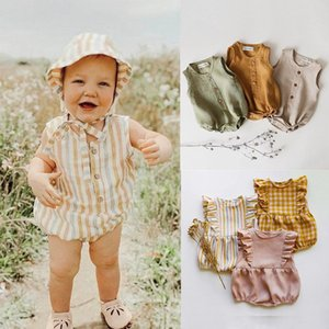 2020 Rainbow Linen Baby Boys Girls Summer Romper Brother Sister Machthing Toddler Sleeveless Rompers Baby Bubble Playsuit Onesie Y200320
