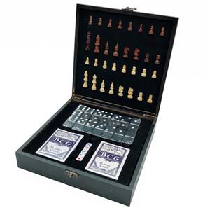 4 sur 1 échecs internationaux en bois + poker + dés + Domino Family Party Divertissement Table de table Jeux de la table Y200421