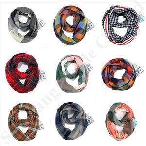 Unisex Loop-Schal-Frauen Leichte Infinity-Grid Wraps Neckerchie mit versteckter Reißverschluss-Tasche Stretchy Reise Schale 25 * 170cm A112703