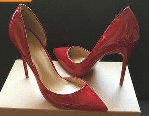 Brand Design Donne Scarpe a punta pompe della pelle verniciata 12CM tacchi alti delle donne dei ritagli pattini inferiori rossi Scarpe Sexy Ladies Festa di nozze Singolo