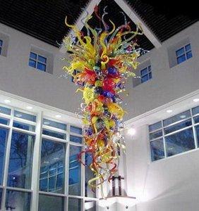 Multi Цветной Большой ручной выдувного муранского стекла Люстры Чихули Стиль LED Saving Источник света Современные потолочные светильники