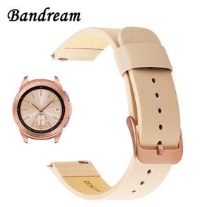 Bracelet de montre en cuir véritable 20 mm pour Samsung Galaxy Watch 42mm R810 bande de libération rapide bracelet de remplacement bracelet au poignet or rose Y19052301
