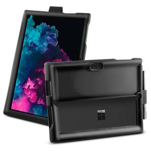 MingShore cas pour Microsoft Surface Pro 3 4 5 6 Tablette Universel Noir Shell avec porte-stylo en silicone robuste boîtier