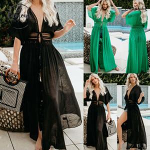 2020 Mulheres Maxi Vestido Sólidos Biquíni Cover Up vestido longo Boho Swimwear Verão V Neck Vestido