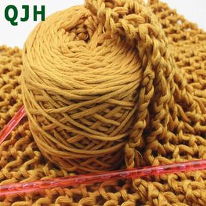 QJH New 16 ações da linha de lã de seda grossa 1ball / 200g Leite Sweater Cotton Hat Scarf Knitting WarmBreathable DIY Crochet Fios