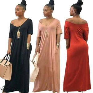 Neue Stil Frauen Frauen Schulterfrei V-Ausschnitt Lange Lose Kleid Mit Tasche Reine Farbe Kurzarm Oversize V-Ausschnitt Sommerkleid
