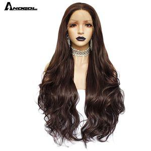ynthetic Nenhum-Lace Wigs Anogol Dark Brown Natural Onda reta perucas para mulheres resistente ao calor de alta temperatura fibra sintética Lace Fron ...