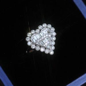 Aşk Boyutu 6-10 için Kadınlar Rhinestone Heart Parmak Halkası Bling Bling Kristal Gelin Yüzük Düğün Takı Hediye