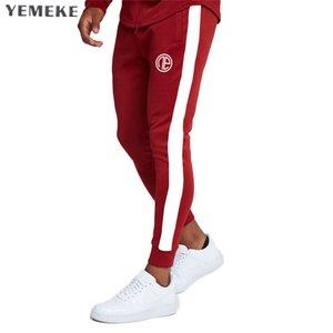YEMEKE Ginásios Homens Corredores Homens Casual costura Sweatpants Corredores Pantalon Homme Calças Calças Musculação Vestuário Desportivo Y19061001