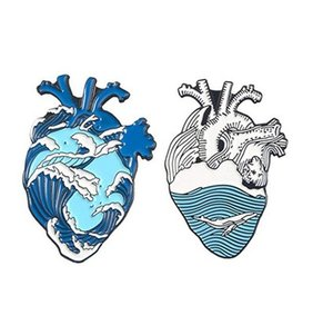 Okyanus Dalga Organ Kalp Emaye iğneler Balina Broş Çanta Giyim Yaka Pin Badge Blue Sea Plajı Takı Hediye