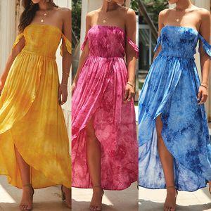 2019 New Women Off 어깨 Print Boho Dress Women Beach Summer 드레스 패션 숙 녀 끈이없는 긴 맥시 불규칙한 Dress Vestidos 암