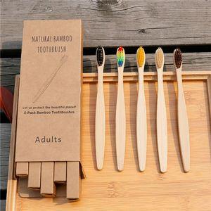 4 ADET Çevre Bambu Kömür Sağlık Diş Fırçası Ağız Bakımı Aracı Diş Temizleme Çevre Dostu Taşınabilir Yumuşak Kıl Fırçalar