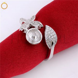 HOPEARL Bijoux massiness argent 925 papillon avec feuille de conception Zircon semi-fini Montages cadeau bricolage anneau