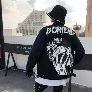 나루토 Kakashi 인쇄 구멍 데님 자켓 남성 Chaqueta 험 브레 힙합 느슨한 청바지 재킷 Veste 옴므 윈드 폭격기 재킷