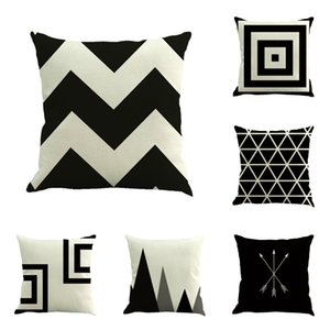 "Set of 6 Black Geometric 100% Cotton Throw Pillow Case Cushion Cover 18"" x 18"" 45cm x 45cm"