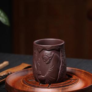 Передничек 150cc Исин Фиолетовый Клей Дхарма Чашки Hand Made фиолетовый песок чай Кубок Рука Резные Kung Fu Tea Set Термостойкое Drinkware