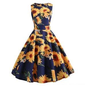 Vintage 2019 Sweet ALine Summer Girl Midi Dress Pineapple Flower Leaves Print Sleeveless Fresh Sundress Japan Style