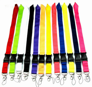 Envío gratis Hot 20PCS Cuerda de color sólido para MP3 / 4 Teléfono celular Llavero Llanyards Wholesale