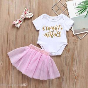 Yenidoğan Bebek Kız Giysileri Set Mektup Bodysuits Tops Tül Tutu Etekler kafa 3 adet Yaz Infang Iki Parçalı Set Kıyafet Mama S Bestie