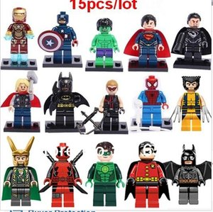15pcs / set Building Blocks Super Hero Figuras Brinquedos The Avengers Brinquedos Joker Brinquedos Mini Figuras de Ação Tijolos minifig presentes de Natal