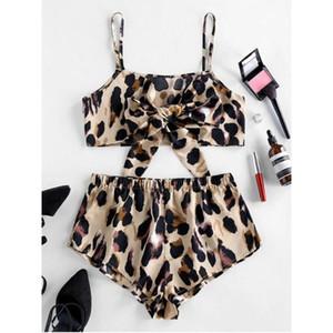 Femmes sexy soie mignon Bow Pijamas Set Leopard camisoles + court Pyjama Pijama soie pyjama femmes d'été de haute qualité de nuit