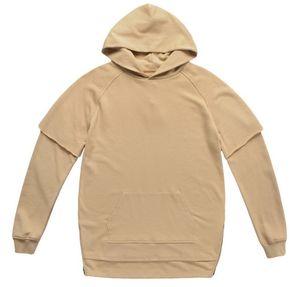 Мужские толстовки Fake Two Pieces Сплошной цвет сплит шить свитер с капюшоном Европа и Америка Толстовки Пуловеры Модные толстовки для мужчин M-XL