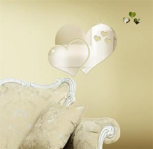 الاكريليك مرآة ملصقات الحائط 3d الإبداعية شكل قلب مرآة ملصقات الحائط غرفة ديي ديكور صائق القلب مرايا القلب DHB682