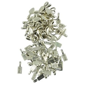 150pcs Antique Silver Pendentif Bail Colle sur Rectangle Bezel / feuilles Charms Résultats Blank Cabochon Pendentif pour la prise de bijoux bricolage