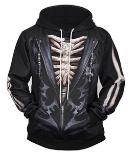 Men's new 3d hooded sweater black chest fake two-piece personality jacket