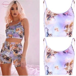 Thefound 2020 Fashion Womens Angel Hollow Out Print Vest Bra Crop Top Blouse Printed Boob Tube Strappy Bandeau Stretch