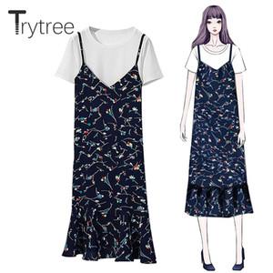 Trytree Summer Women Casual conjunto de dos piezas Algodón Sólido Top + Vestido con volantes florales Dobladillo a media pierna Vestido de traje Conjunto 2 piezas