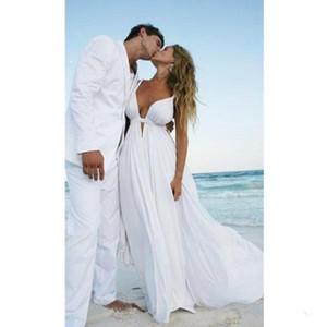 Новый сексуальный глубокий V-образным вырезом пляж свадебное платье спагетти ремни спинки шифон свадебные платья со складками vestido де noiva