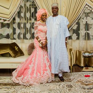 Pink Gorgeous Nigerian Lace Wedding Dresses 2020 Long Bridal Gowns Mermaid African Bridal Gowns Custom Made