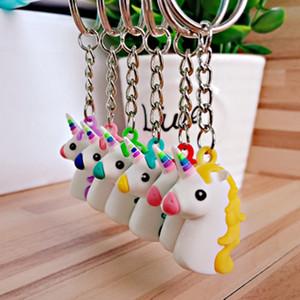Cartoon Soft PVC Unicornio llavero de goma 3D Anime lindo Animal caballo Charm llavero colgante regalos alta calidad LJJJ43