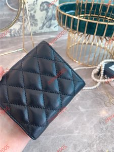 xshfbcl Women's Fashion Card Holders Genuine Leather Lambskin Quilted Flap Mini Wallets Female Purses Card Holder Coin Pouch