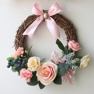 Artificial grinalda Rose Floral Garland casamento romântico Hanging Partido Porta Decoração de Natal Porta Wreath falsificação flor