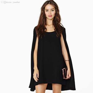 Al por mayor-XS - XXL Mujeres magia Bavy cabo del capote del temperamento elegante gasa del cuello redondo vestido de negro Haoduoyi HD028 vestido blanco
