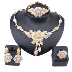 Dubai Gold Color Rose Flower Crystal Jewelry Set Women Earrings Necklace Bracelet Ring Sets For Women Wedding Party Gift