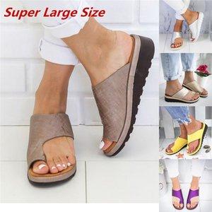Kadınlar Terlik PU Deri Rahat Platformu Düz Sole Bayanlar Yumuşak Büyük Ayak Ayak Düzeltme Sandal Ortopedik Ayak Şişi Düzeltici terlik ayakkabı