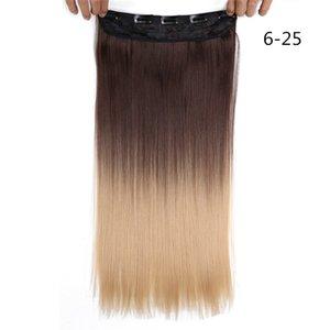 Clip dans les extensions de cheveux droit 22 pouces Natural Synthetic Hair Extensions 5 Clips en une seule pièce Extensions de cheveux synthétiques 130g / PC / PC