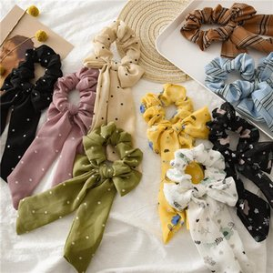 INS Summer Chiffon Hair Scrunchies Arco Mujeres Accesorios Bandas Para el Cabello Lazos Scrunchie Ponytail Holder Floral Dots Plaid Stripe Big Long Bow