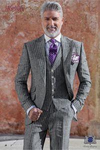 New Arrival Groomsmen Peak Lapel Groom Tuxedos Stripe Men Suits Wedding Prom Dinner Best Man Blazer ( Jacket+Pants+Tie+Vest ) A1150