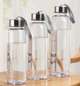 300 ml 400 ml 500 ml Garrafas de Água de Esportes Ao Ar Livre de Plástico Transparente Rodada Copos À Prova de Fugas Com corda de elevação Viagem Portátil Copo de Água