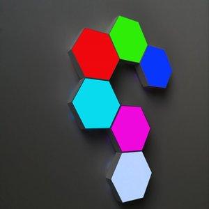 6 Pack Luz Hexagonal parede LED sensível ao toque Wall Light inteligente Honeycomb Noite Luzes DIY Modular montado Lâmpadas de parede emenda