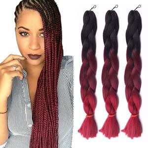 Ombre Üç İki Mix Renkler Kanekalon Örgü Saç Sentetik Jumbo Örgü Saç Uzantıları 24inch Tığ Örgü Saç Toplu Toptan Fiyat