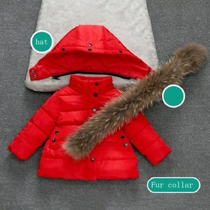 Baby winter coat girl warm cotton jacket pointed bow thick bread cotton kid coat jacket girl fur collar hooded coat jacket