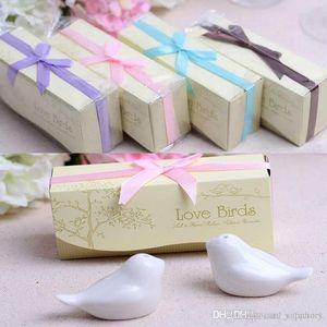 Düğün Hediyesi ve Parti Favors için 2019 Düğün Favor Aşk Kuş Tuz ve Paket Box ile Biberlik Seti Parti Hediye