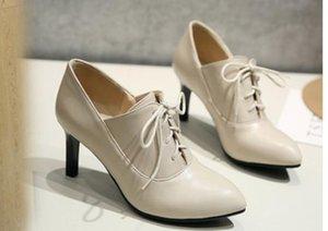 الأحذية 2019 المرأة في الربيع والخريف مع نمط جديد ارتفاع كعب غرامة كعب نهاية مدببة @ 2088