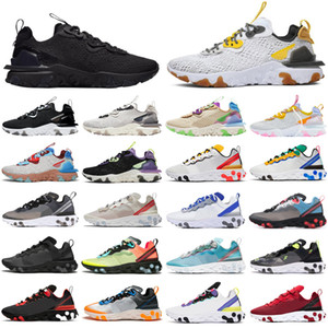 Nike React Element 55 87 2020 stock x hommes femmes Chaussures de running triple noir blanc Tour Yellow Sail gym Rouge Baskets Baskets de sport